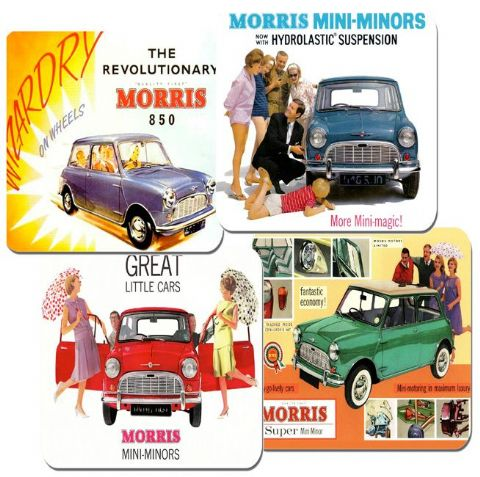 Morris Mini Car Ad Classic Brochure Drinks Coasters Set Of 4  High Quality Cork